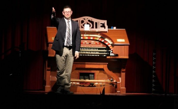 Justin Stahl at the TOSAQ Christie Cinema Organ kick starting his 2017 Australian Tour